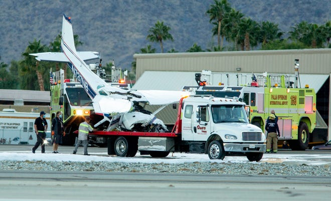 A small aircraft crashed at Palm Springs International Airport in Palm Springs, Calif., on Friday, December 4, 2020.