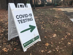 A sign at Shasta College in Redding directs people to the gymnasium COVID-19 testing site on Friday, Dec. 4, 2020.