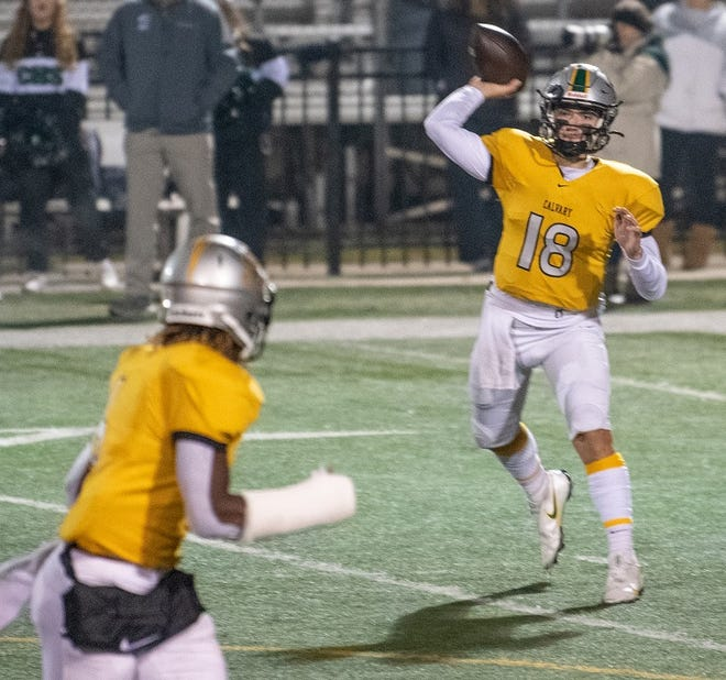 Calvary quarterback Landry Lyddy fires a pass against Catholic-P.C. Friday in the LHSAA Division IV playoffs.