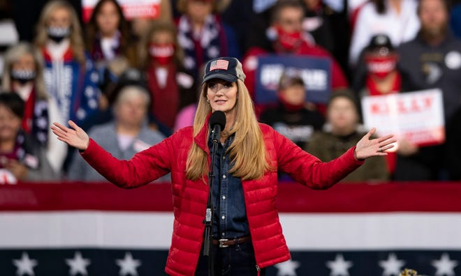 Georgia Senator Kelly Loeffler speaks to a crowd of Trump supporters during the Republican National Committee's Victory Rally on Saturday, Dec. 5, 2020.