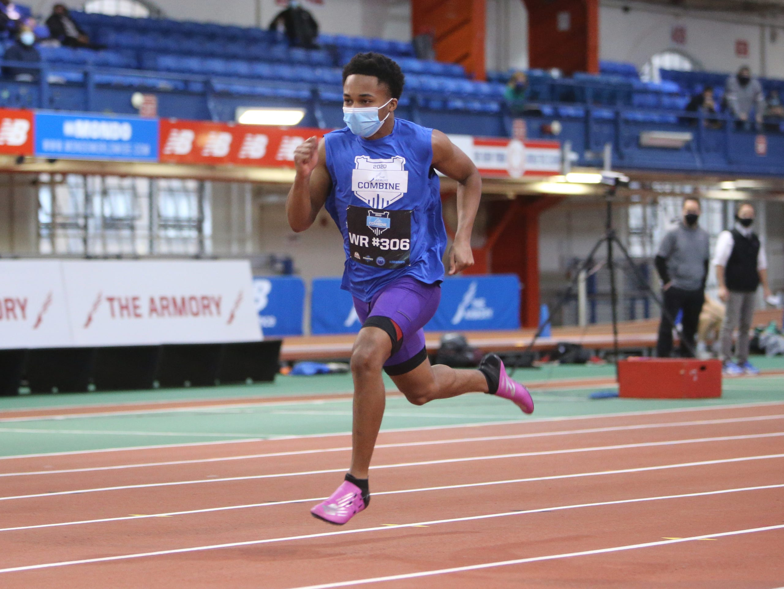 New Rochelle's Gary Phillips III takes part in The Armory Football Combine at The Armory Track & Field Center in New York on Saturday, December 5, 2020.