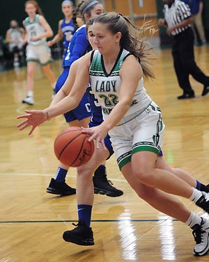 West Branch's Sydney Mercer drives to the basket in a non-conference game against Chippewa Saturday December 5, 2020 at the West Branch Field House. Michael Skolosh, Special to the Review.