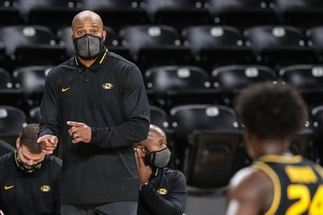 Missouri head men's basketball coach Cuonzo Martin gives instructions during a game against Wichita State on Dec. 6 at Charles Koch Arena in Wichita, Kan.