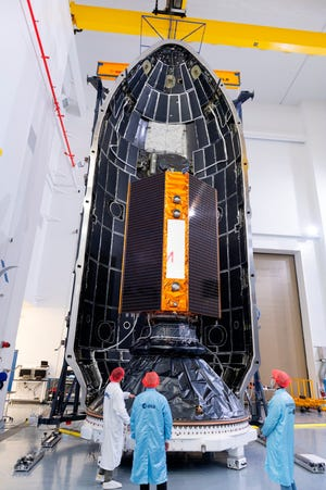 In this Nov. 3, 2020 photo, provide by the European Space Agency, the Sentinel-6 satellite is placed inside the upper stage of a Falcon 9 rocket. The joint European-U.S. satellite mission to improve measurements of sea level rise was launched from Vandenberg Air Force Base in California on Saturday Nov. 21, 2020.