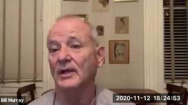 "In this November 12, 2020 image taken from video, actor Bill Murray takes part in a virtual production of ""Poetry for the Pandemic."" Murray is set to play Job in a biblical reading designed to spark meaningful conversations across spiritual and political divides."