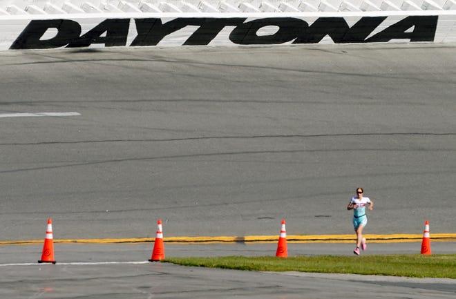 Paula Findlay races to win the Women's Challenge Daytona race at Daytona International Speedway on Sunday.