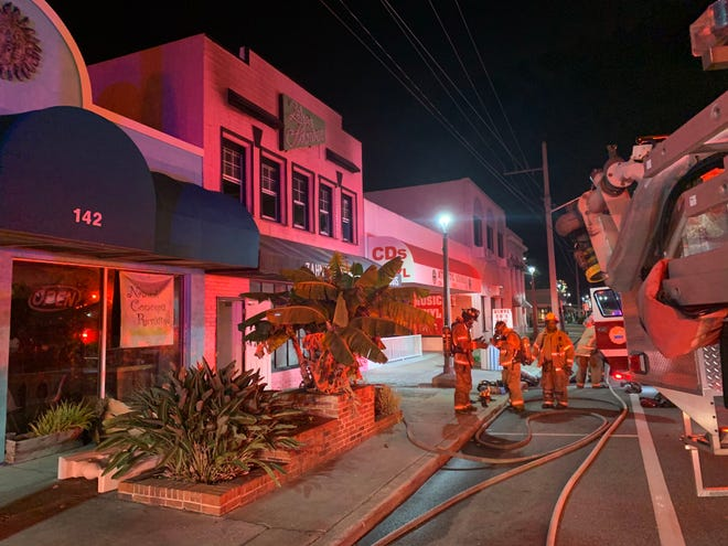 Daytona Beach firefighters responded to a 5:30 a.m. blaze on the second floor of Zahn's Flowers, 140 W. International Speedway Blvd., on Sunday.