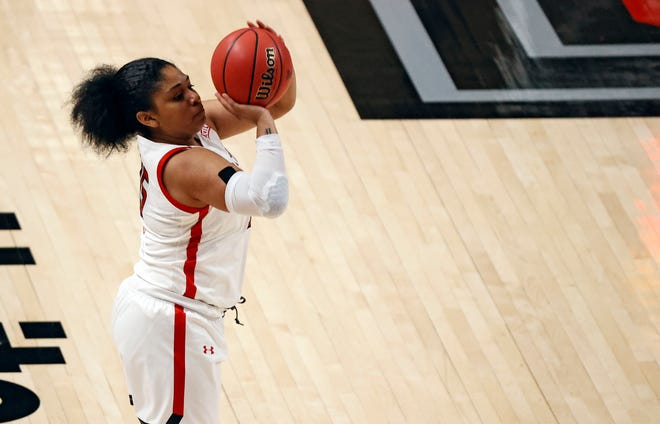 Texas Tech's Andrayah Adams (15) shoots the ball during the first half of an NCAA college basketball game against Rice, Saturday, Dec. 5, 2020, at United Supermarkets Arena in Lubbock, Texas.