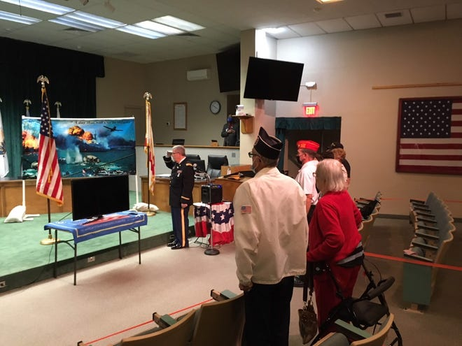 This was the scene Saturday at the annual Pearl Harbor ceremony, held inside the County Commission chamber at the McPherson Governmental Complex in Ocala.