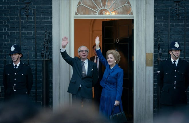 """Gillian Anderson plays the late British Prime Minister Margaret Thatcher in the latest season of the Netflix series """"The Crown,"""" aided by spot-on costuming. She is seen here in a scene with Stephen Boxer as her husband, the late Denis Thatcher."""