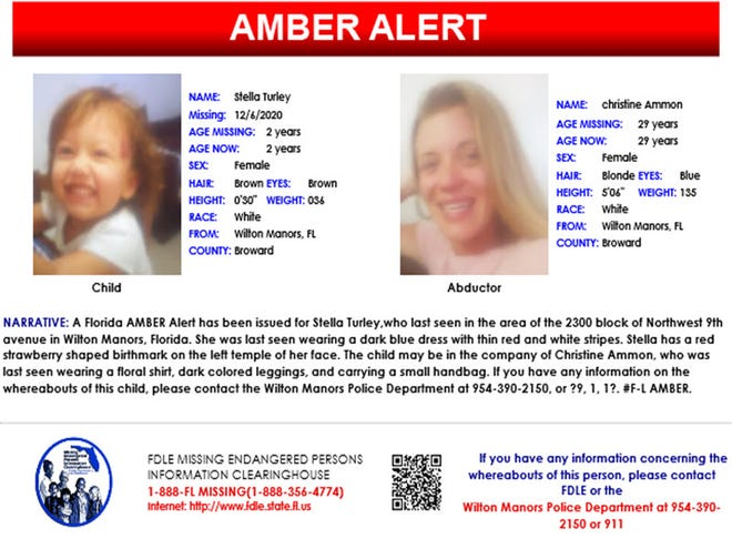 A Florida AMBER Alert was issued Sunday morning for 2-year-old Stella Turley missing in Broward County.