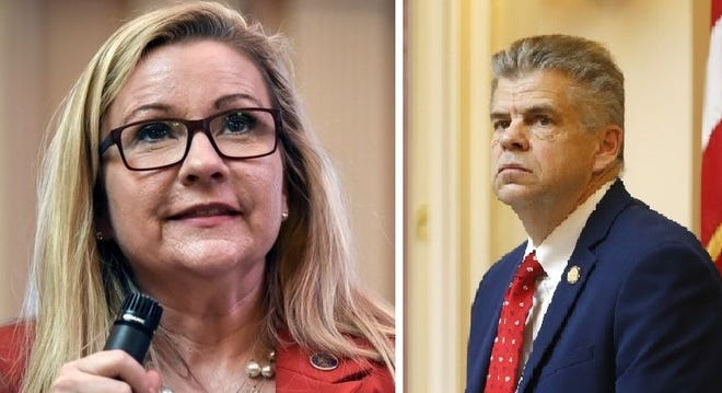 State Sen. Amanda F. Chase, left, and former House Speaker Kirk Cox are the leading contenders for the 2021 Republican gubernatorial nomination. Chase said Friday she will not seek the job as an independent as she earlier had threatened to do.