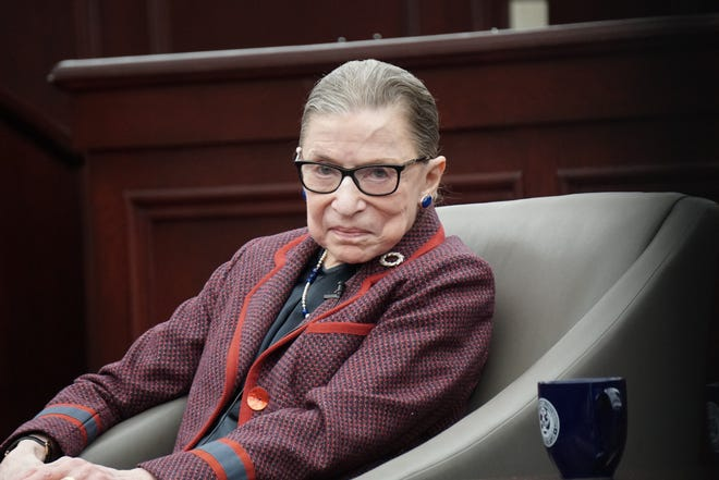 U.S. Supreme Court Justice Justice Ruth Bader Ginsburg during a discussion at Roger Williams University School of Law in Bristol in 2018.