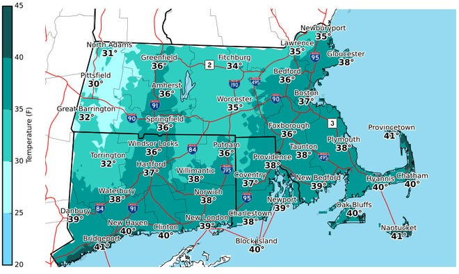 Afternoon highs for Sunday, Dec. 6.