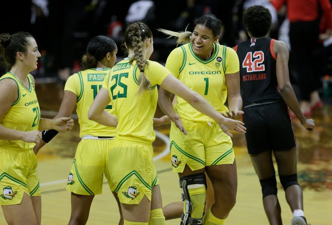 Oregon's Nyara Sabally (1), seen here in the Ducks' game against Utah earlier this month, had 19 points and 14 rebounds Monday against Washington State.