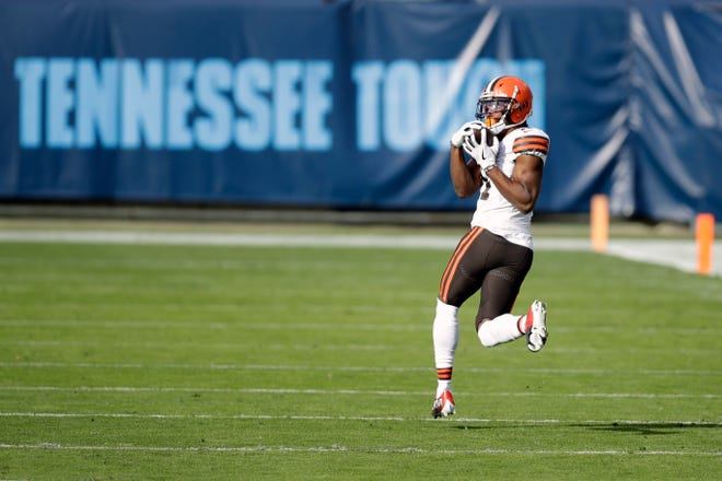 Browns wide receiver Donovan Peoples-Jones (11) catches a 75-yard touchdown pass against the Titans in the first half Sunday, Dec. 6, 2020, in Nashville, Tenn. (AP Photo/Ben Margot)