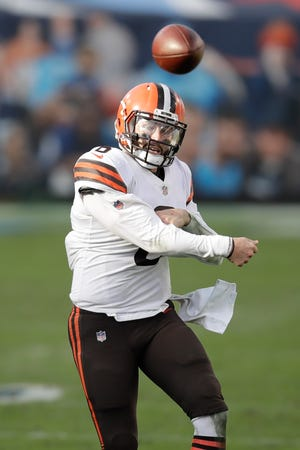 Browns quarterback Baker Mayfield (6) passes against the Titans in the second half of a Sunday, Dec. 6, 2020, in Nashville, Tenn. (AP Photo/Ben Margot)