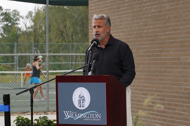 Mayor Bill Saffo speaking as New Hanover County and the City of Wilmington held a small dedication ceremony for Echo Farms Park on Thursday, October 29 at 11 a.m.  He wants the city council to continue figuring out ways to address the city's issues with affordable housing, job creation and job training in 2021. [KEN OOTS/FOR STARNEWS]