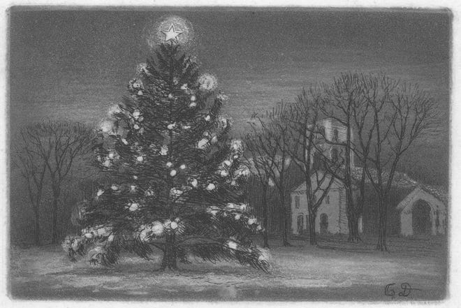 An early 20th century handmade Christmas card made by Ozias Dodge, from the collection of Slater Memorial Museum.