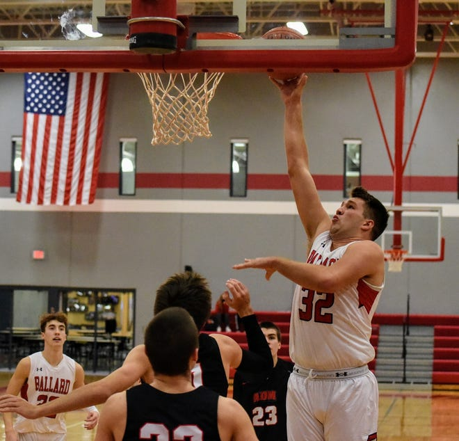 Connor Drew had 19 points and 16 rebounds for Ballard in a 59-55 overtime win over Adel-Desoto-Minburn to open Raccoon River Conference play Friday on senior night in Huxley.