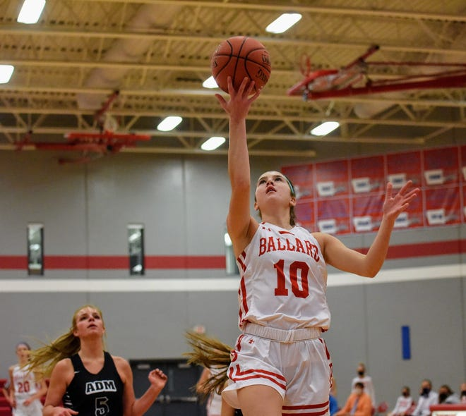 Brooke Loewe went for a game-high 19 points for the No. 3 (4A) Ballard girls in their 44-24 victory over Adel-Desoto-Minburn Friday on senior night in Huxley.