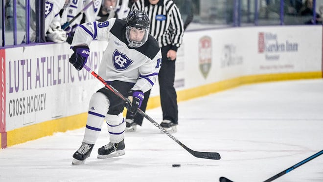 Holy Cross sophomore Alex Peterson scored late in the third period in Tuesday's loss at Bentley.