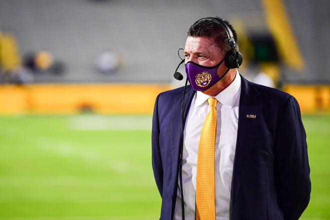 Ed Orgeron of the LSU Tigers during a game against the Alabama Crimson Tide at Tiger Stadium on December 5, 2020 in Baton Rouge, Louisiana.