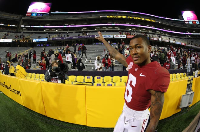 Alabama wide receiver DeVonta Smith celebrates following the Crimson Tide's 55-17 win over LSU on Dec. 5. Smith and the Crimson Tide take on Notre Dame in the College Football Playoffs semifinal Friday.