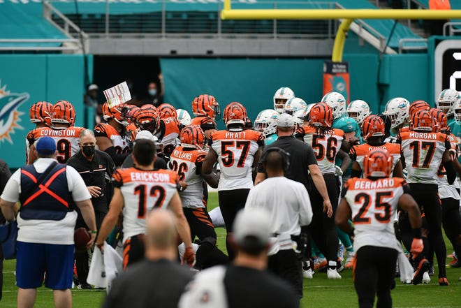 Tempers flare between the Bengals and Dolphins in a game that saw five players get ejected.