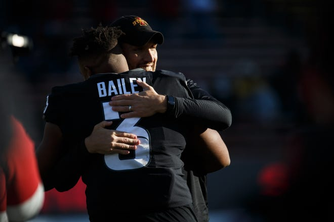 Dec 5, 2020; Ames, Iowa, USA; Iowa State head coach Matt Campbell hugs Iowa State defensive end JaQuan Bailey (3) before their football game at Jack Trice Stadium on Saturday. Mandatory Credit: Brian Powers-USA TODAY Sports
