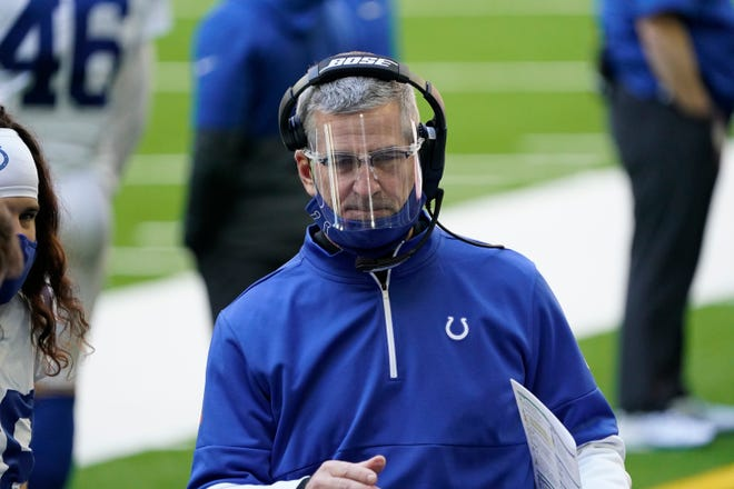 Indianapolis Colts head coach Frank Reich during the first half of an NFL football game against the Houston Texans Sunday, Dec. 6, 2020, in Houston.