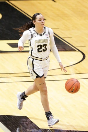 Purdue guard Kayana Traylor (23) dribbles during the first quarter of an NCAA women's basketball game, Sunday, Dec. 6, 2020 at Mackey Arena in West Lafayette.