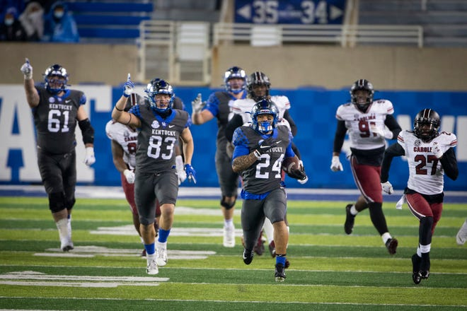 Kentucky running back Chris Rodriguez scores a touchdown this season against South Carolina, a 41-18 victory in the Wildcats last regular-season game.