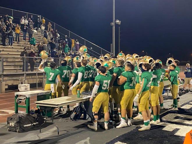 Yuma Catholic celebrates their playoff win over Pusch Ridge