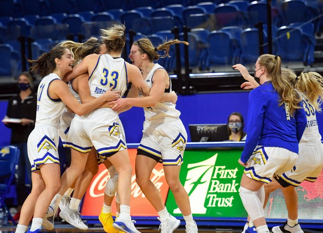 The South Dakota State women's basketball team celebrates their win over Gonzaga on Sunday, December 6, at Frost Arena in Brookings.