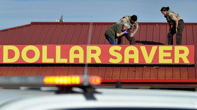 The Wichita County Sheriff's Department worked the scene of a burglary Sunday morning after responding a report of a suspicious person at the Dollar Saver on Old Iowa Park Road in Pleasant Valley.