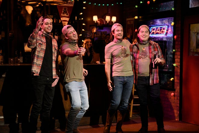 "From left to right, Pete Davidson, musical guest Morgan Wallen, host Jason Bateman as future Morgan, and Bowen Yang as future Morgan during ""Saturday Night Live""s ""Morgan Wallen Party"" sketch on Dec. 5, 2020."
