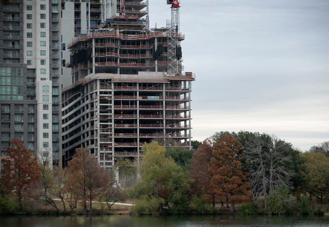 The 44 East Ave. project is under construction in Austin. The tower is adding to the ongoing growth boom in the Rainey Street District, which is alongon downtown Austin's southeastern edge.