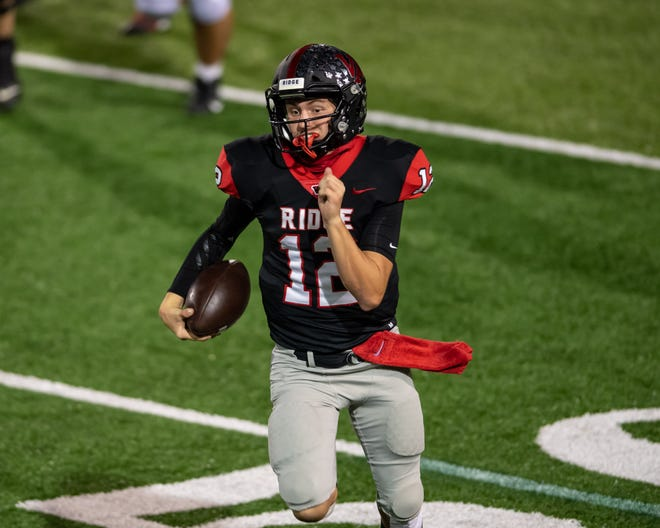 Vista Ridge quarterback Kyle Brown, running for daylight in a game against Round Rock in November, was the Class 6A All-State quarterback in 2019.