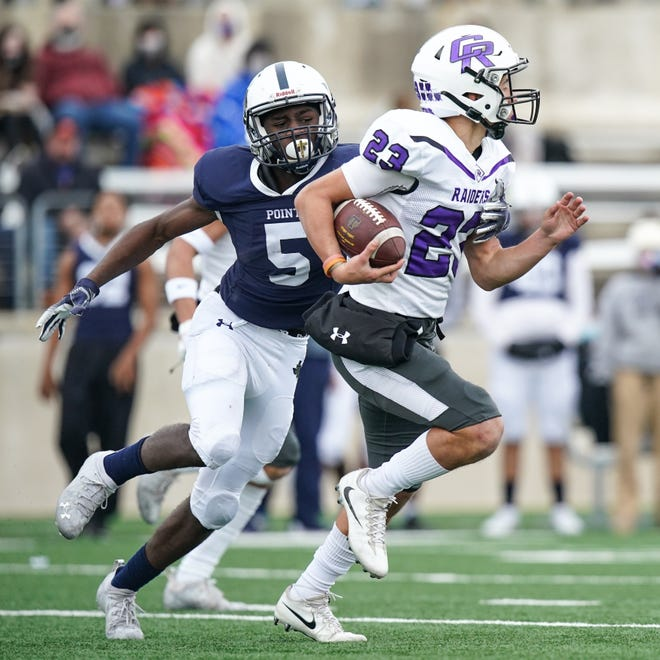 Stony Point's Jaden Leonard gets a hand on Cedar Ridge's Dominic Fuentes after Fuentes intercepted a Stony Point pass. Stony Point lost to Cedar Ridge 28-12 at Kelly Reeves Athletic Complex.