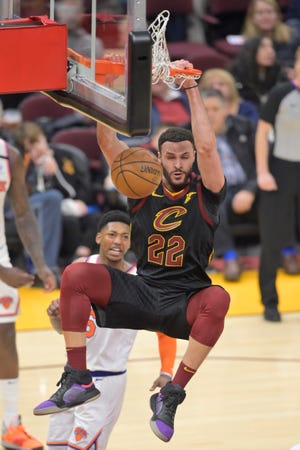 Cavaliers forward Larry Nance Jr. (22) is giving back to the Northeast Ohio community by promoting local businesses. [Associated Press file photo]