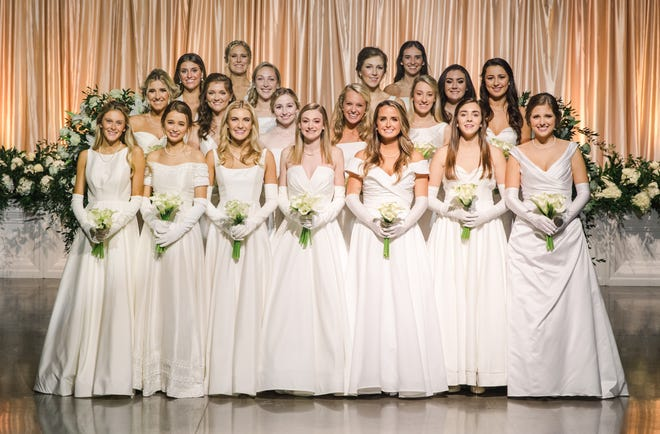 The 2020 Augusta Symphony Guild Cotillion debutantes are, from left: (first row) Grace Elizabeth McDonough, Anderson Chandler Dozier, Katherine Brooke Page, Emma Kathryn Kitchens, Frances Lillian Howard, Lucy Carswell Simons and Hannah Avery Jones; (second row) Amber Marie Dunagan, Aisling Karis Fields, Rosemary Margaret Macuch, Isabelle Reid Williams, Slater Elizabeth Prather and Grace Walker McLeod; (third row) Katherine Bell Fulcher, Katharine Card Sherman, Mathurin Witherington Duckworth and Morgan Ansley Tolleson; (fourth row) Anslee Rene' Williams and Mildred McCall Stevenson.
