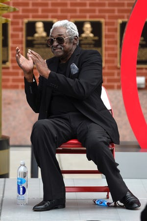 Former Phillies infielder Dick Allen reacts to the unveiling of his retired number at Citizens Bank Park in September.