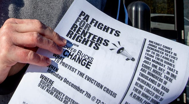 Information about renters rights was handed out during an eviction protest in Bucks County in early December.