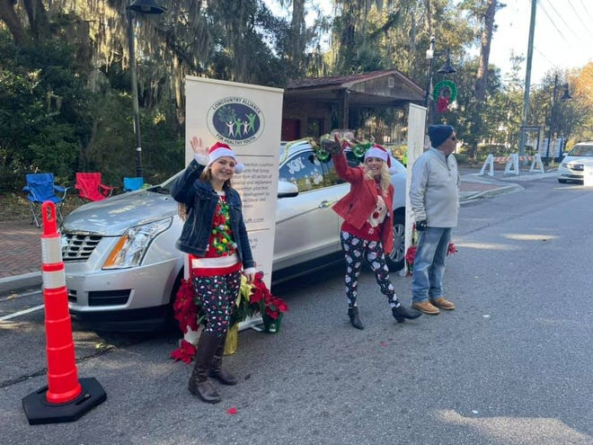 """Bluffton held a """"reverse parade"""" Saturday. Spectators participated in a drive-by viewing of stationary floats and entrants, including Lowcountry Alliance for Healthy Youth."""