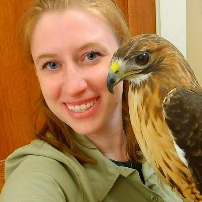 Captive wildlife care expert Bethany Jakubson, creator of Amazing Animal Ambassadors with Jasper, a red-tailed hawk.
