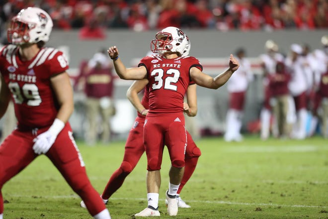 North Carolina State's Christopher Dunn (32) looks on after kicking a field goal against Florida State in the 2019 season.