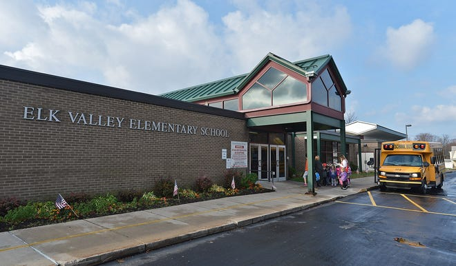 Elk Valley Elementary School, shown in this 2015 file photo, is closed for in-person classes through Tuesday, along with Rice Avenue Middle School and Girard High School.