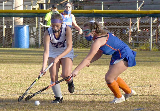 Little Falls Mountie Allyson Nichols (left), a junior pictured in action against New York Mills Oct. 14 at Veterans Memorial Park, has been picked for Section III and New York State field hockey all-star teams for the second year in a row.