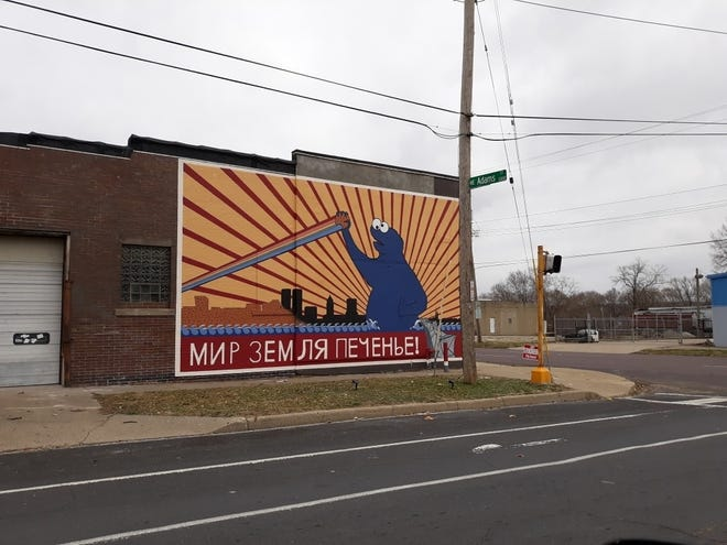 This mural appeared in late November at 1301 NE Adams St. in Peoria. The artist said he was commissioned by a man who purported to own the building. However, the owner says he did no such thing and has since painted the wall white. The owner now is seeking ideas for a new mural.